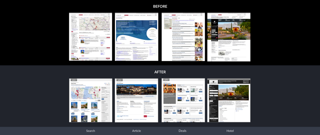Early-stage reference designs for the Marriott.com 2012–2014 responsive redesign period.